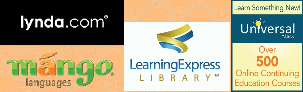 Logos from Lynda dot com, mango languages, learning express library, and universal class