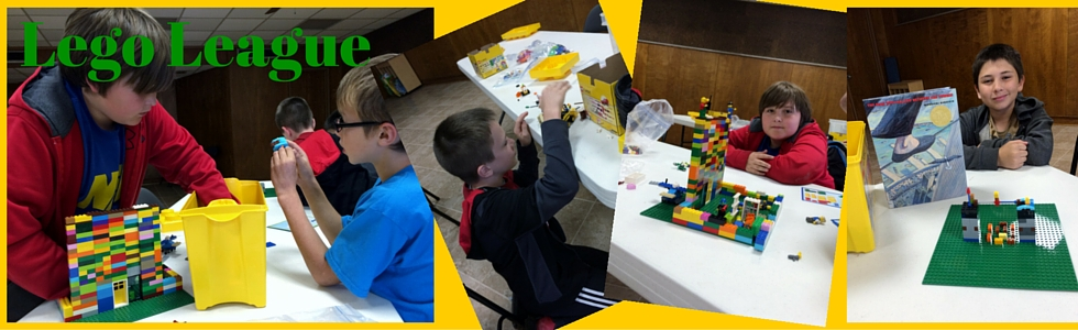 Pictures of boys building things with Legos.