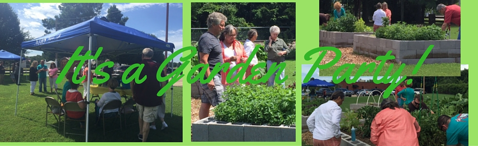 Pictures of community members in the Community Garden