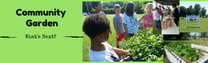 A picture of children in a garden with the words community garden what's next?