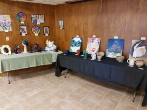 Displays of middle school artwork