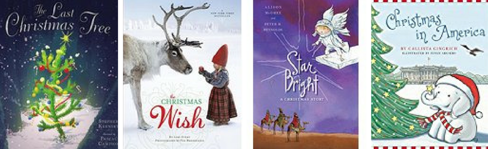 Four Christmas book covers